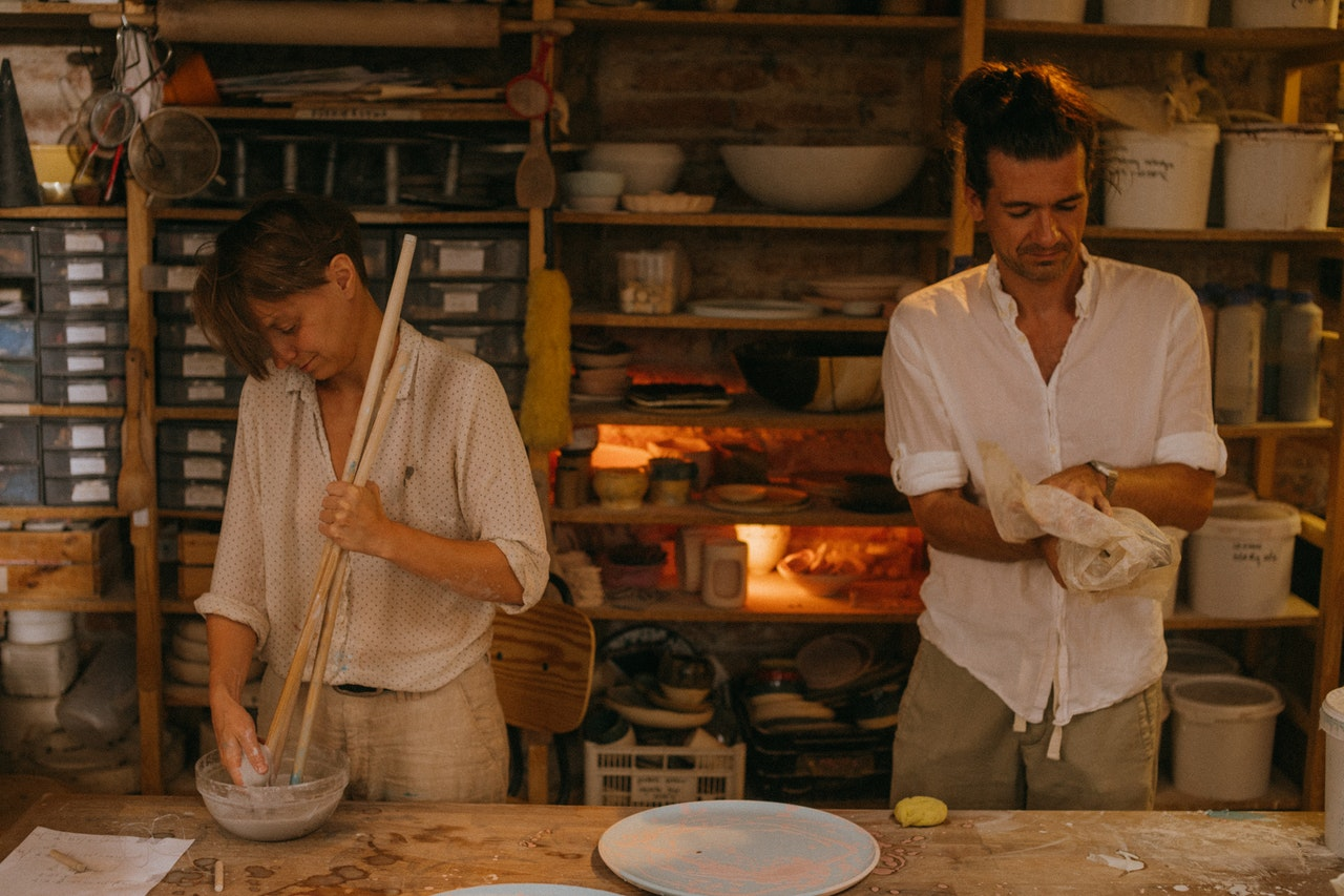 Two people baking